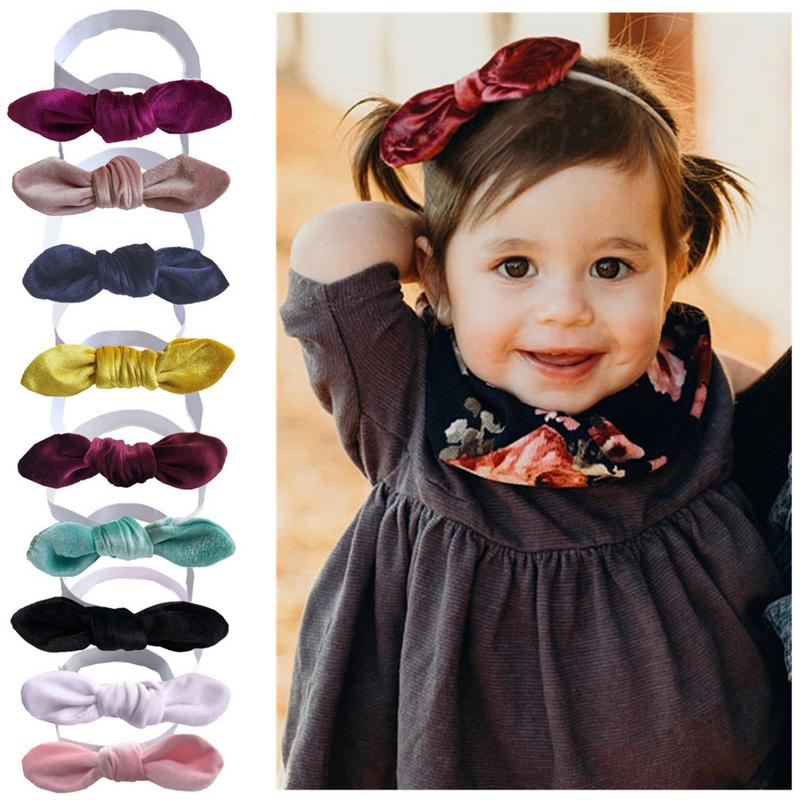 Frank Rabbit Ears Baby Girls Headband Bow Hairband European And American Style Pleuche Headscarf Baby Holiday Hair Accessories