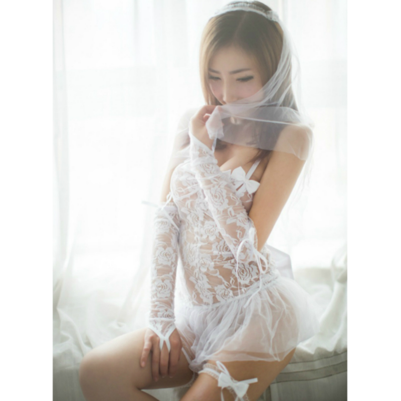 <font><b>Sexy</b></font> Bride Wedding Dress Head Yarn Anime Cosplay for Women Dress Lace and Transparent <font><b>Sexy</b></font> Costume in <font><b>Halloween</b></font> Carnaval Party image