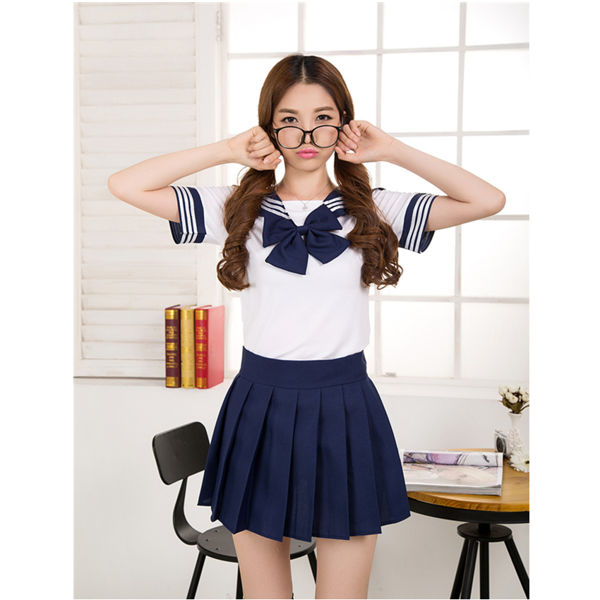 Japanese School Uniform 7 Colors Sailor Suit Cosplay Customes Girls Navy Style Bow Tops And Pleated Skirt Student Uniforms