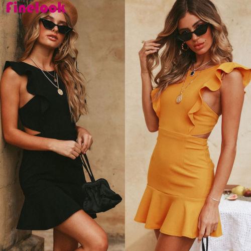 2019 Summer Women Ruffle Beach Casual Party Dresses Club wear  Short Mini Dress Backless Dress