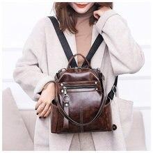 Купить с кэшбэком Rucksack Backpack Women Leather Backpack Students Casual School Bag Multifunction Travel Bags Vintage Back Pack Mochila Feminina