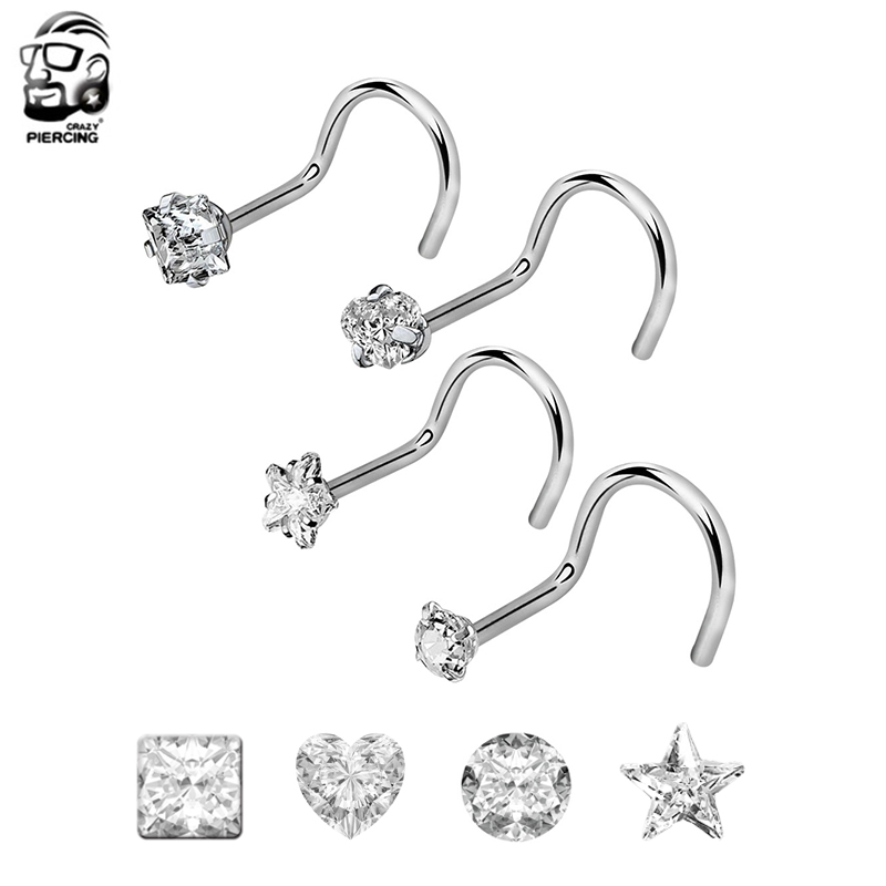 FORYOU FASHION Surgical Steel 20G Curved Nose Stud Ring Twister Screws with 2mm Ball Piercing Jewelry