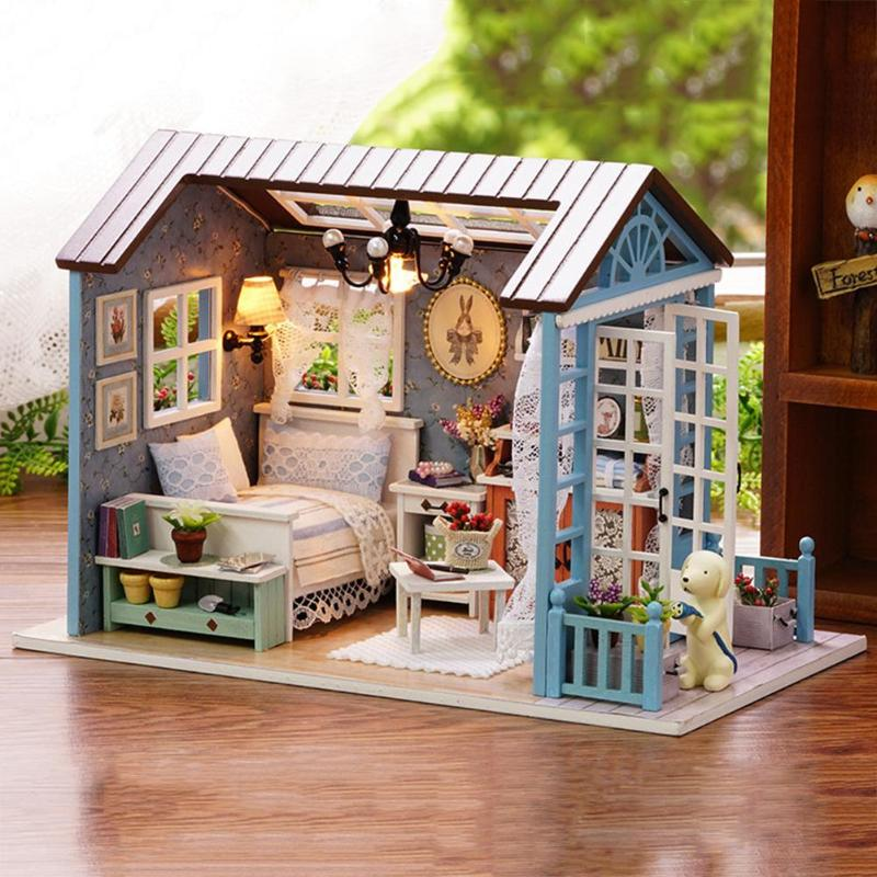 Architecture/diy House/mininatures 2018 Hot Diy Miniature Model Funitures Building Kits Kids Or Adults Gifts 3d Assemble Toys Christmas Creative Wooden Dollhouse Vivid And Great In Style Model Building