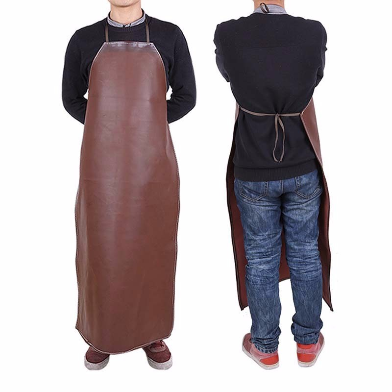 Leather Cooking Baking Aprons Waterproof Oil Proof Kitchen Apron Restaurant Aprons For Men Home Sleeveless Chef Apron Delantal Aprons     - title=