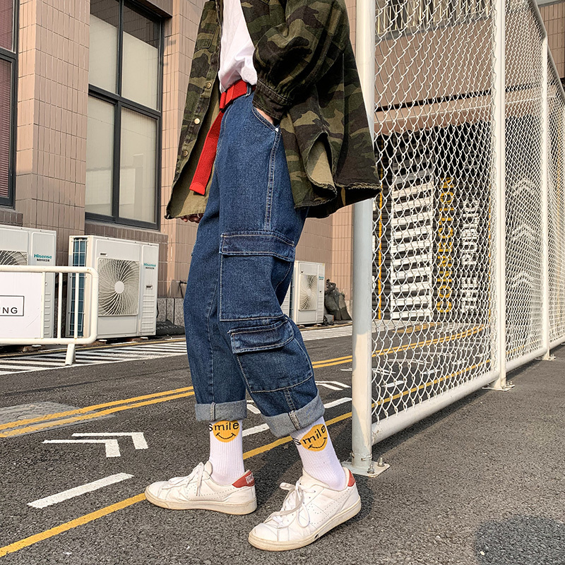 Japanese Style Men's Summer Loose Casual Pants Fashion Trend More Cargo Pocket Work Baggy Homme Jeans men Blue Color Trousers