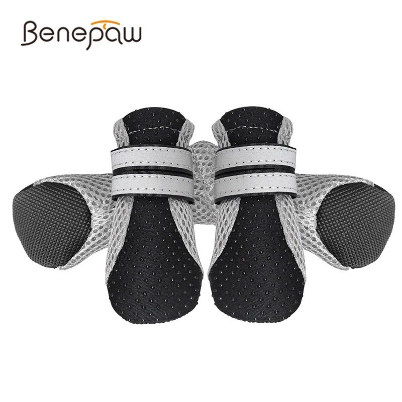 benepaw-reflective-shoes-dog-soft-breathable-puppy-shoes-hot-sale-comfortable-antislip-pet-dog-boots-pinkgreenblack-4-pcsset