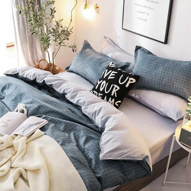 Solstice Home Textile Black White Stripe Duvet Cover Pillowcase Sheet Simple Nordic Bedding Set Boy Teenage Adult Girl Bed Linen