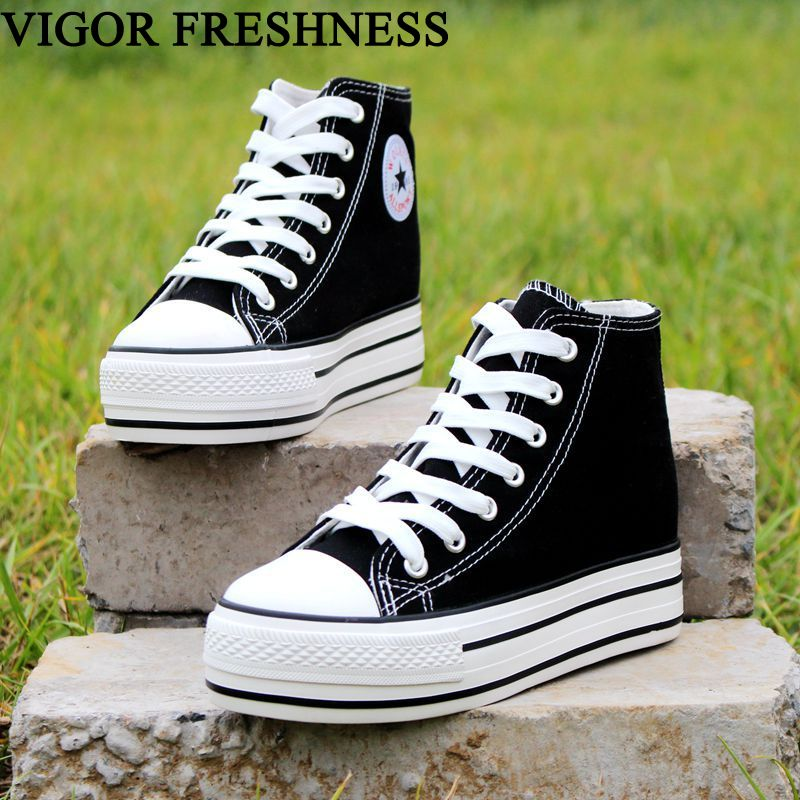 VIGOR FRESHNESS Women Canvas Shoes Increase Internal Spring Woman Vulcanized Sneakers Students Autumn Tennis Shoes 6CM WY345