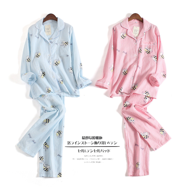 Autumn Japanese 100% Cotton Gauze   Pajamas   Long-sleeved Double Yarn Lovely   Pajama     Set   Cartoon Bee Pijama Mujer Plus Size 2 Piece