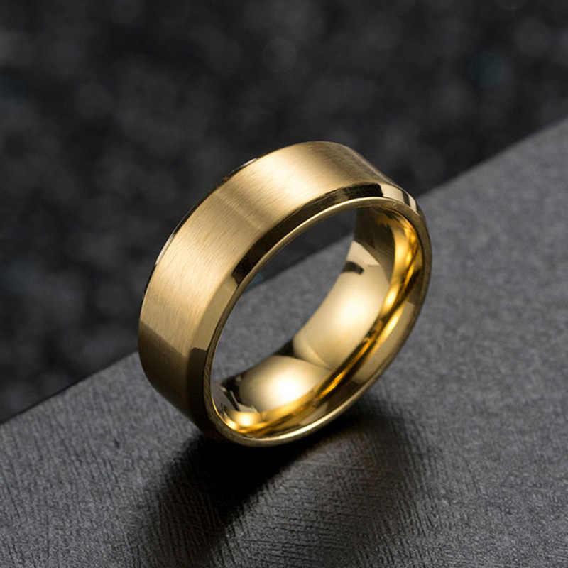 2020, nueva moda novedosa, 1 unidad de ancho, 8mm, oro rosa, anillos Unisex, negro plateado, mate, carburo de tungsteno, anillo de compromiso