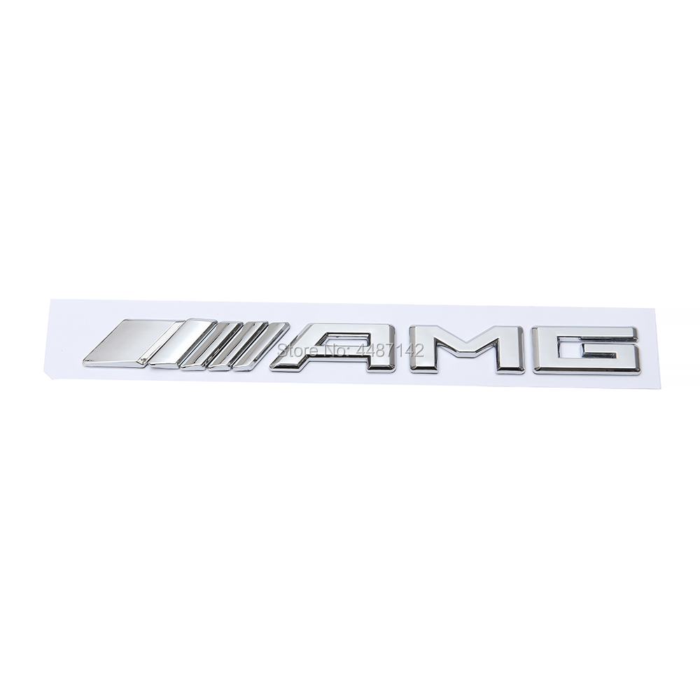 Car Sticker Silver Black Creative 3D Letter Chrome Rear Trunk Letters Number Badge Emblem For Mercedes Benz AMG(China)