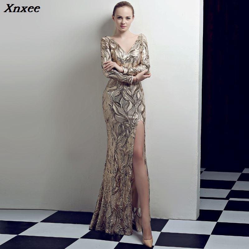 Xnxee luxe à manches longues en V profond Sequin longue sirène tenue de club robe Sexy Split élégant soirée soirée femmes robes Xnxee