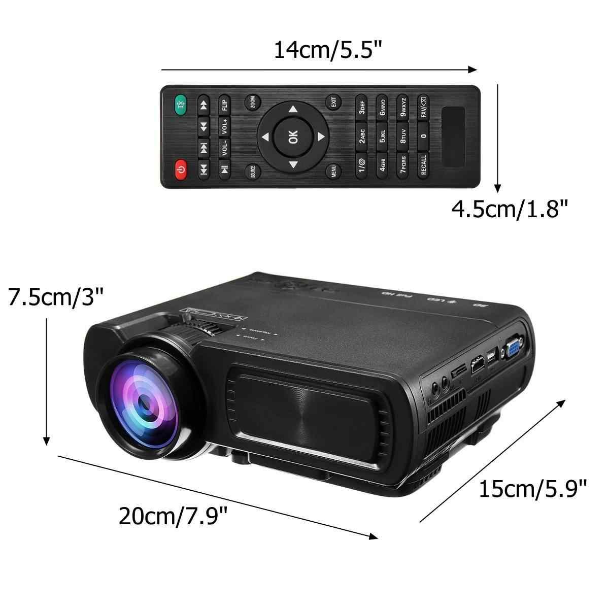Мини-проектор T5 ЖК-дисплей 7000 люмен 1080 P Full HD, Wi-Fi, bluetooth домашний Театр Android 6,0 аудио динамик для домашнего кинотеатра Кино