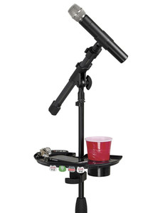 Image 4 - LEORY 1pc Black Frameworks Microphone Stand Accessory Tray With Drink Holder Toys Microphone Accessories