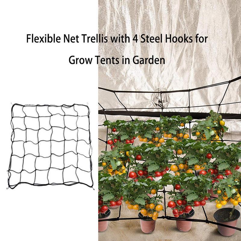 4 Steel Hooks Attached Flexible Net Trellis Elastic Trellis Netting For Grow Tents Garden Plant Tents For Plant Cultivation