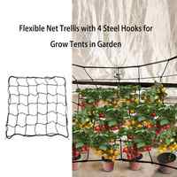 4 Steel Hooks attached Flexible Net Trellis Elastic Trellis Netting For Grow Tents Garden Plant Tents For Plant Cultivation