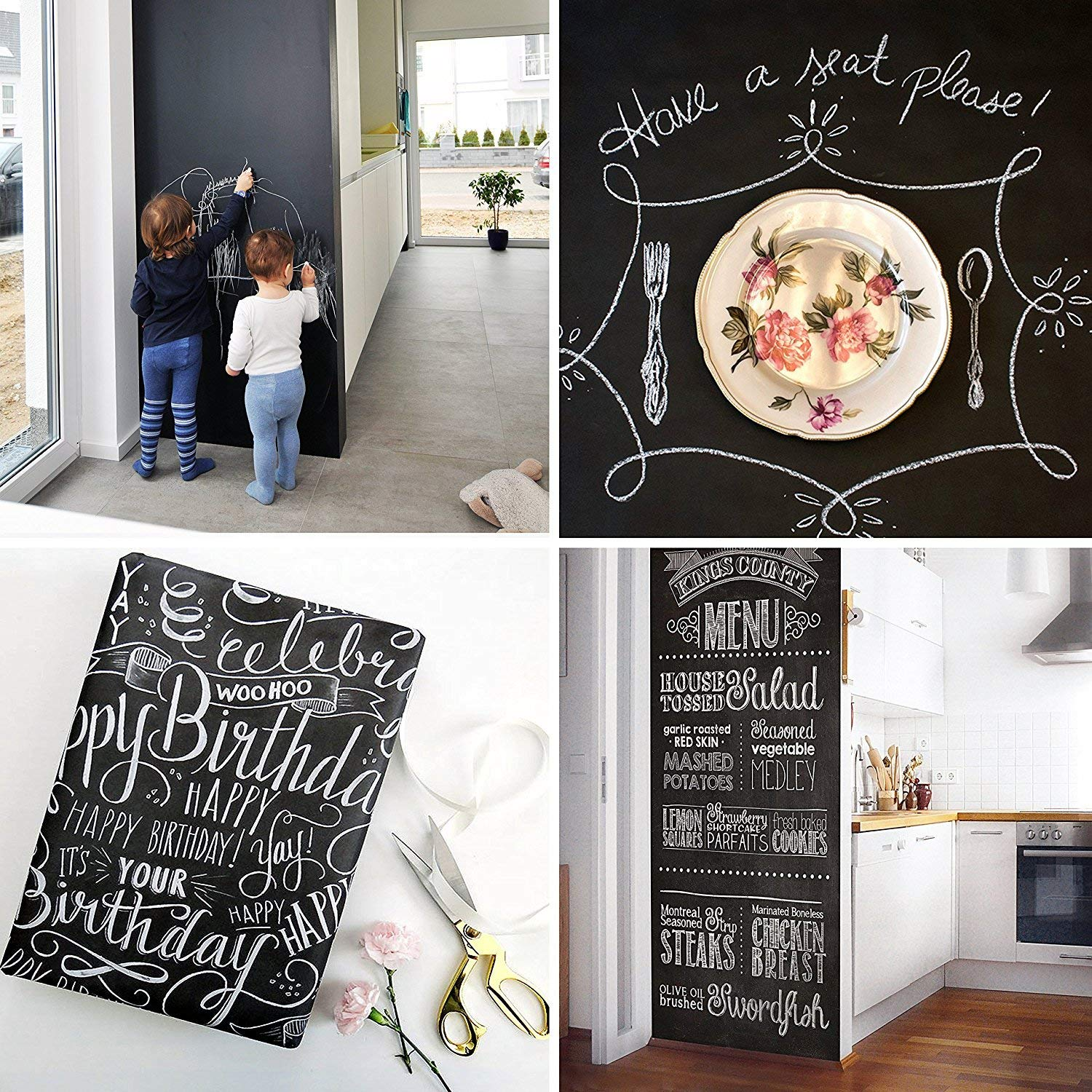 Extra Large Chalkboard Contact Paper PVC Wall Decal Poster (6.5 Feet) Blackboard Roll Adhesive Chalk Board Paint Alternative w