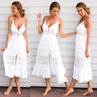 White Vestidos 2019 Summer Fashion Women Sexy Strap V Neck Crochet Lace Waist Skater Dress Casual beach Boho Long Maxi Dresses