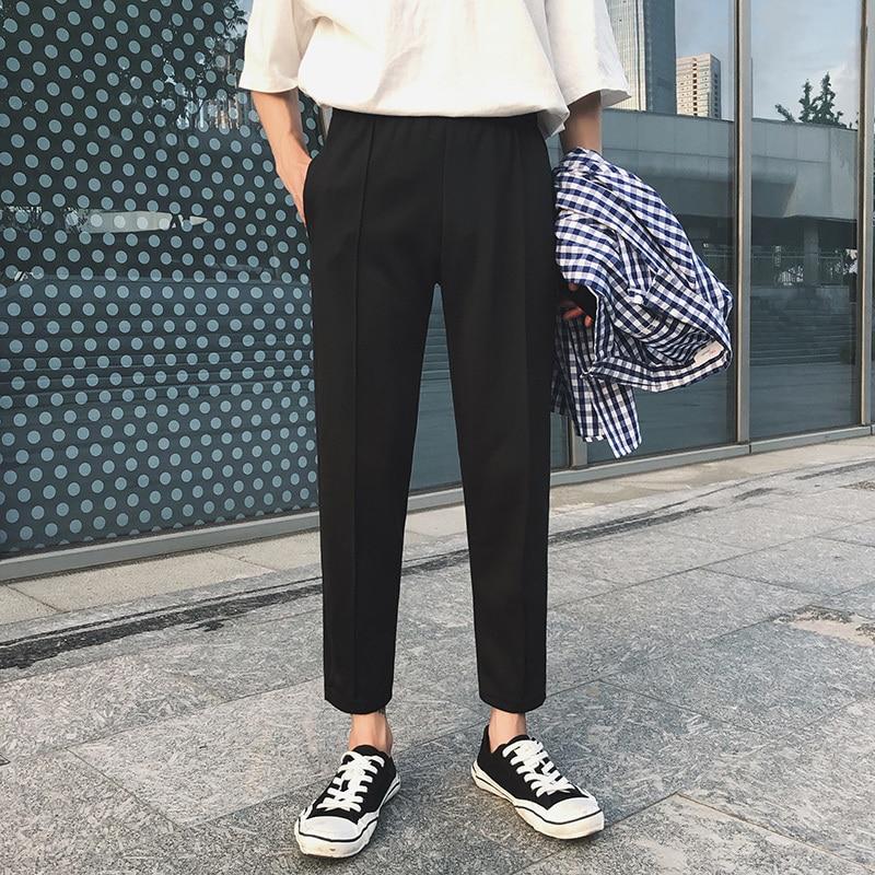 2019 Spring Men's Fashion Trend Soft Cotton Casual Pants White/black Color Trousers Slim Fit Comfortable Pants Big Size M-3XL