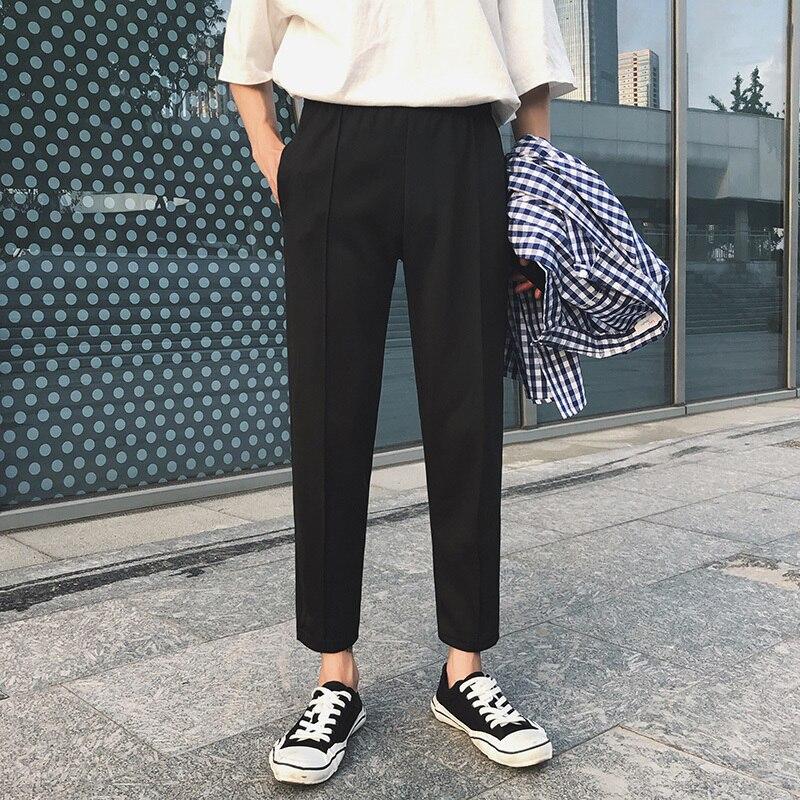 2020 Men's Fashion Trend Soft Cotton Casual Pants White/black Color Trousers Slim Fit Comfortable Pants Big Size M-3XL