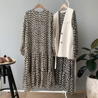 Ladies Spring 2019 Chiffon Dress Women Retro Korean Spot Dot Loose Casual Long Dress