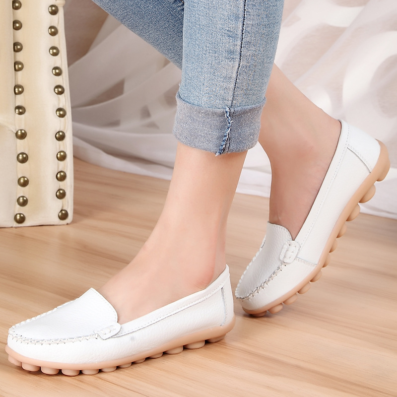 Women Genuine   Leather   Shoes Moccasins Mother Loafers Soft Leisure Flats Shoes Peas Outdoor Shoes Female Driving Casual Footwear