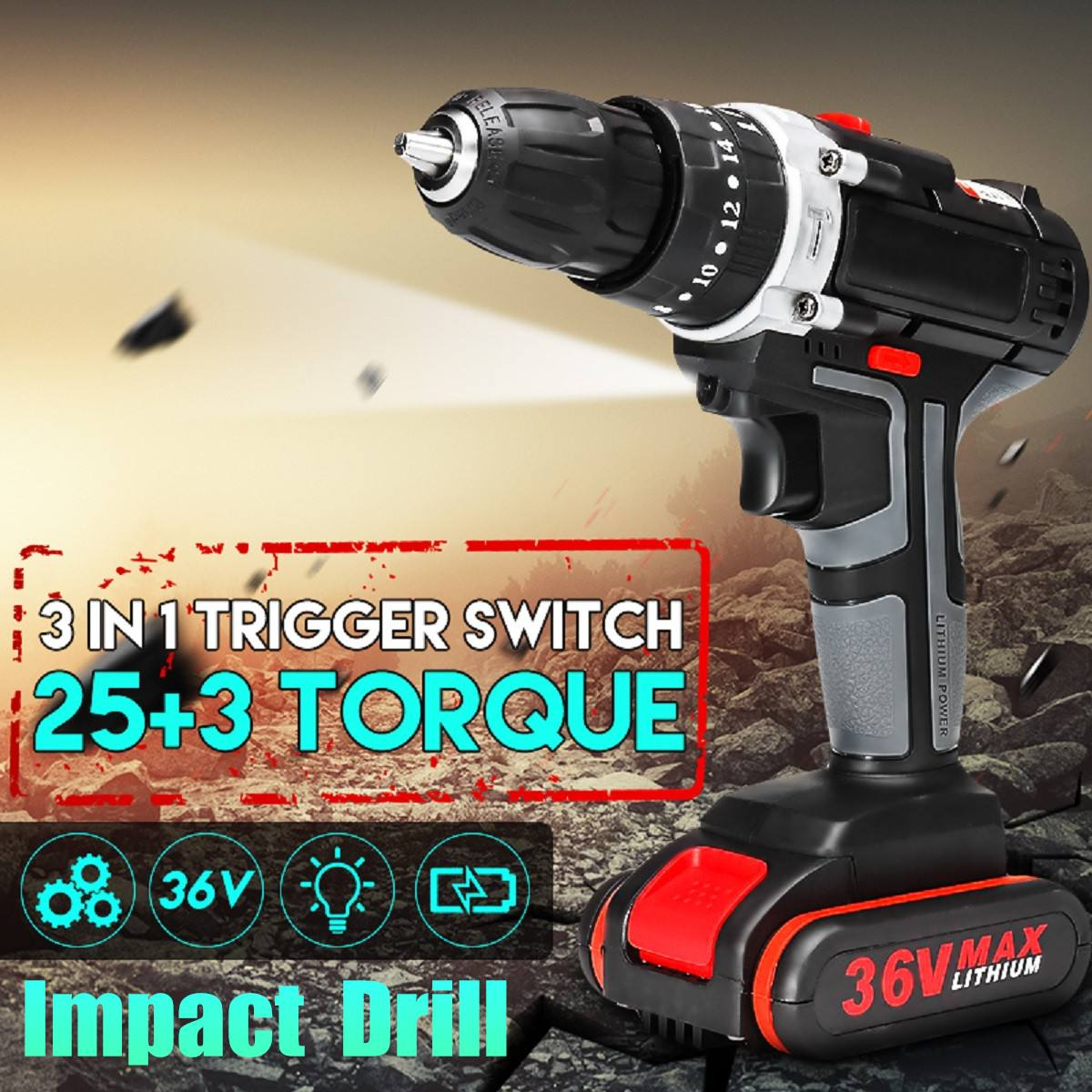 36V Electric Impact Drill DIY Home Decor Electric Screwdriver Wireless Electric Cordless Drill 1/2 Li-ion Battery Power Tools36V Electric Impact Drill DIY Home Decor Electric Screwdriver Wireless Electric Cordless Drill 1/2 Li-ion Battery Power Tools