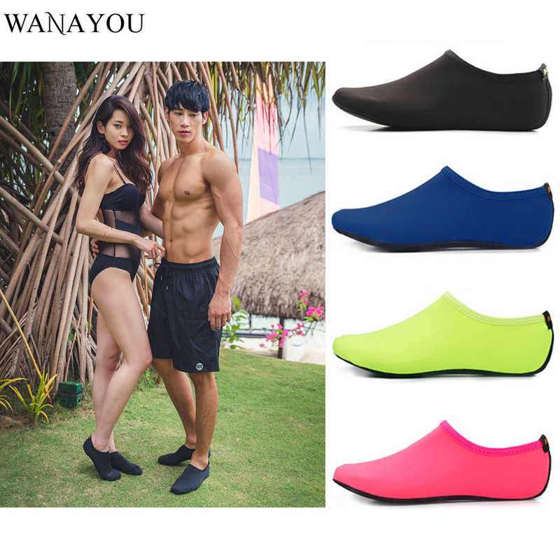 WANAYOU Summer Light Water Shoes Men Women Solid Color Aqua Beach Shoes Non-Slip Swimming Sneaker Seaside Socks For Men