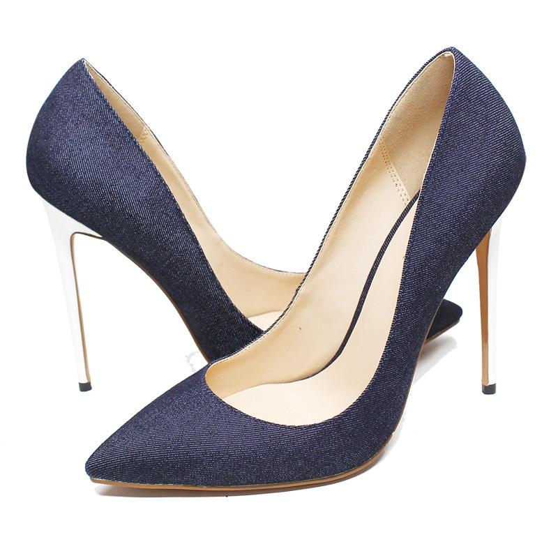Venta caliente azul negro Denim puntiagudos zapatos de mujer tacones altos tacones blancos Slip on señoras vestido de novia zapatos de novia más tamaño - 3