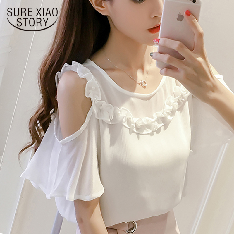 summer 2019 chiffon women   blouse     shirt   off shoulder   shirt   causal t elegant lady tops solid white pink female blusas 0381 30