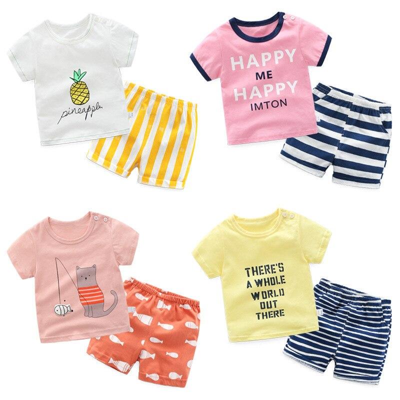 2 Pcs Coreano Dei Bambini Del Cotone Set Del Fumetto A Maniche Corte T-shirt + Striped Shorts Del Bambino Della Ragazza Del Ragazzo Vestiti Di Estate Del Vestito