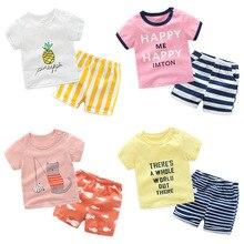 Комплект из 2 предметов, корейский хлопковый Детский комплект, футболка с короткими рукавами и рисунком + шорты в полоску, летний комплект одежды для маленьких мальчиков и девочек