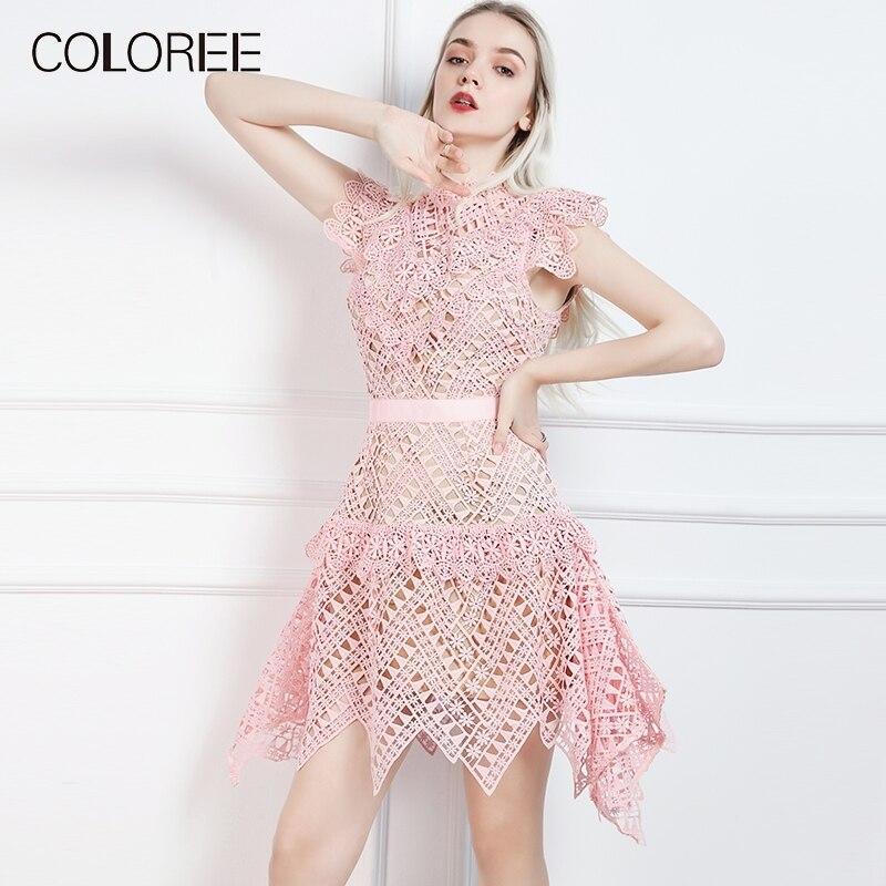 Selbst Porträt 2019 Frühjahr Neue Ärmellose Süße Rosa Spitze Kleid Frauen Niedliche Unregelmäßige Spitze Party Kleider vestidos