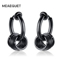 Hip Hop Earrings Clip On Ears Cartilage Huggie Stainless Steel Punk Jewelry Without Piercing(China)