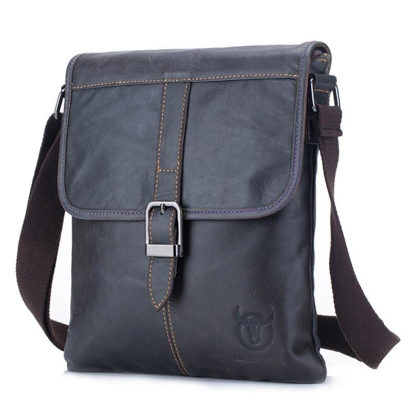 BULLCAPTAIN Men's Genuine Leather Bag New Crossbody Small Business Bag Messenger Bag