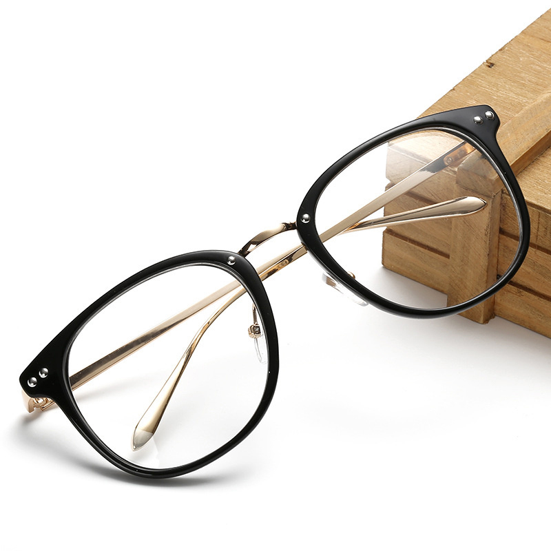 Vintage Oversized Spectacle Glasses Frames Men Women Design Metal Eyeglasses Frame Transparent Lens Optical Glasses Female Male