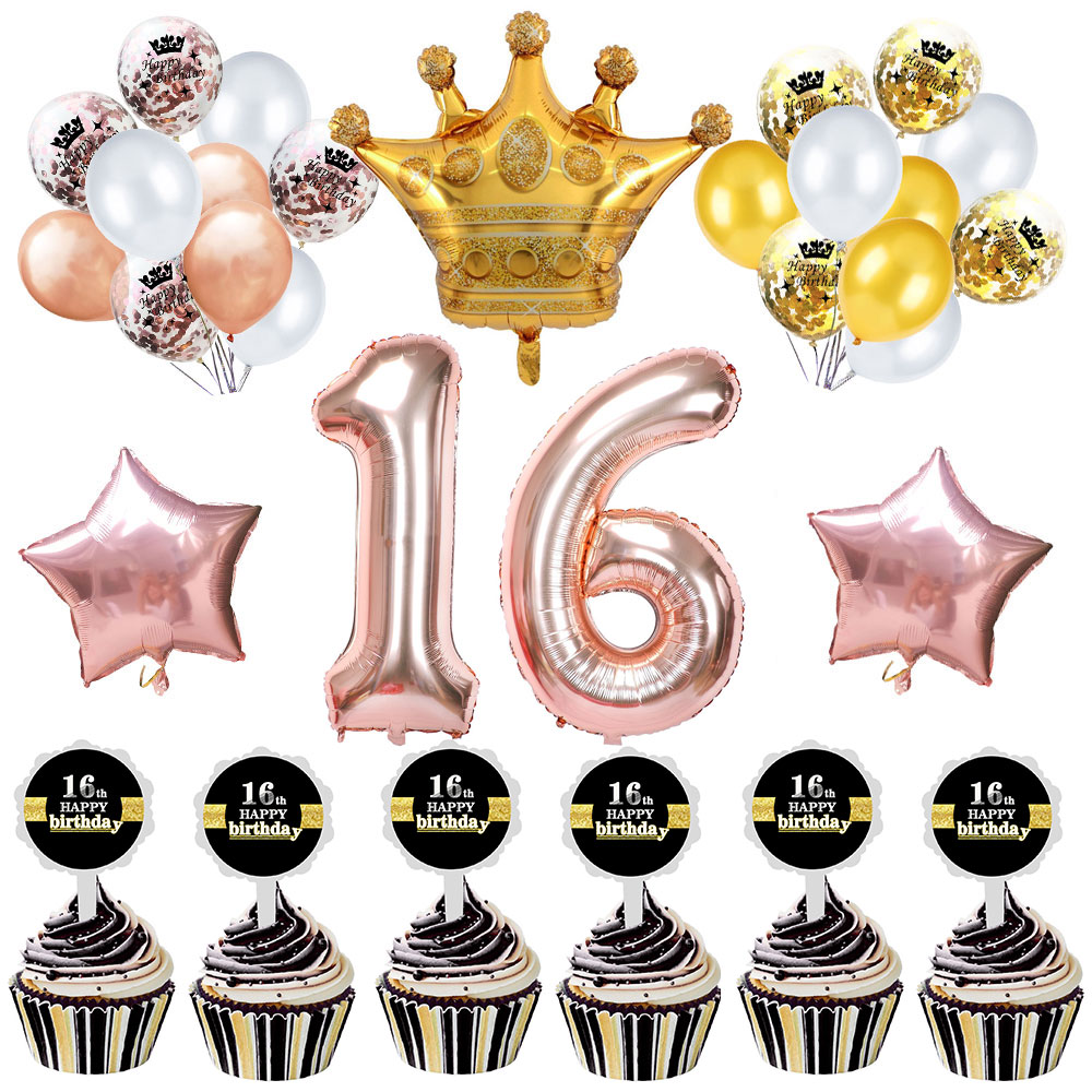 ZLJQ 16th Birthday Decorations Party Supplies Sweet 16 Balloons Rose Gold Confetti Cake Topper