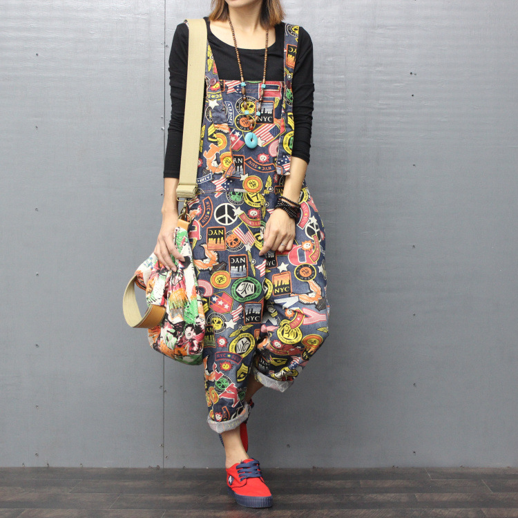 #0352 Spring Autumn Jeans Jumpsuit Women Denim Overalls For Women Streetwear Printed Large Size Romper Loose Hip Hop Jumpsuits