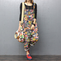 #0352 Spring Autumn Jeans Jumpsuit Women Denim Overalls For Women Streetwear Printed Large Size Romper Loose Hip Hop Jumpsuits