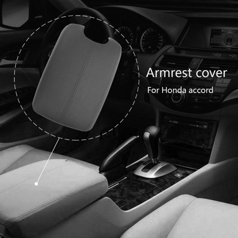 Car Synthetic Leather Armrest Center Console Lid Cover for Honda Accord 2008-2012 Auto Interior Parts Beige/Grey