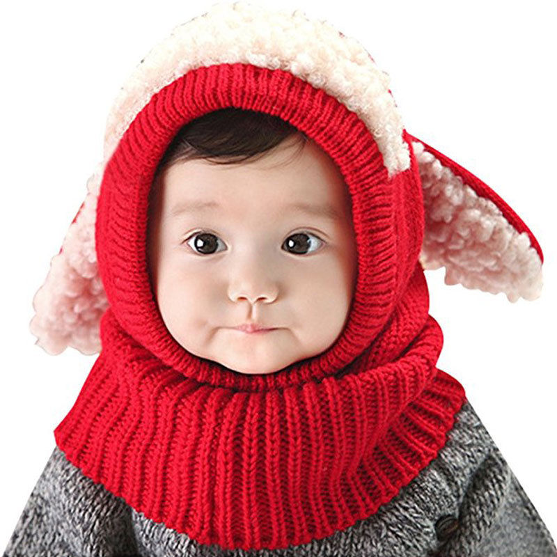 New Winter Kids Girls Boys Warm Woolen Coif Hood Scarf Caps Breathable Touca Inverno Scarves Caps Winter Warm Cap Lamb Apparel Accessories