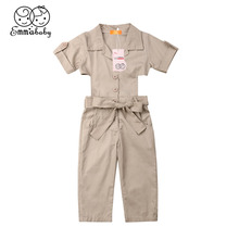 2019 Emmababy Brand Fashion Toddler Kids Girls Summer Solid Coveralls Romper Jumpsuit Clothes