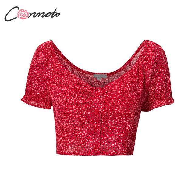 Conmoto Sexy Off Shoulder Red Women Crop Tops and Blouse 2019