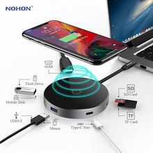 Nohon USB Type C HUB PD Wireless Charger 80W 7 in 1 HDMI Thunderbolt 3 Adapter for MacBook Samsung S9 Huawei P20 Mate 20 USB HUB