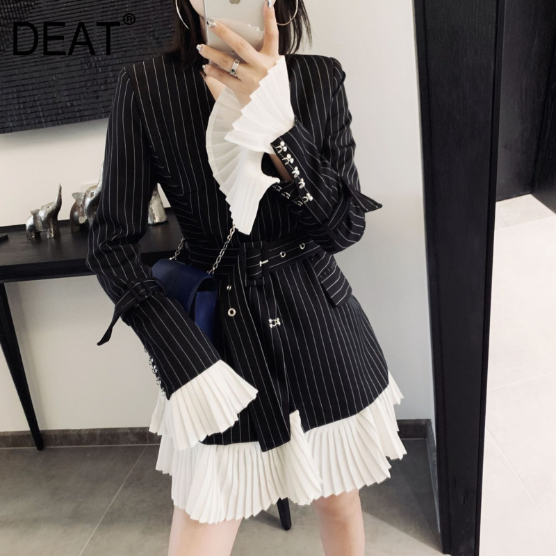 DEAT 2019 New Turn-down Collar Flare Sleeves Pleated Patchwork Striped High Waist Single Suit Women Blazer OL Fits Belts WD9150