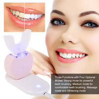 Automatic Electric Toothbrush Cold Light Whitening 360° Ultrasonic Toothbrush U Type Heads Personal Cleaning Toothbrush