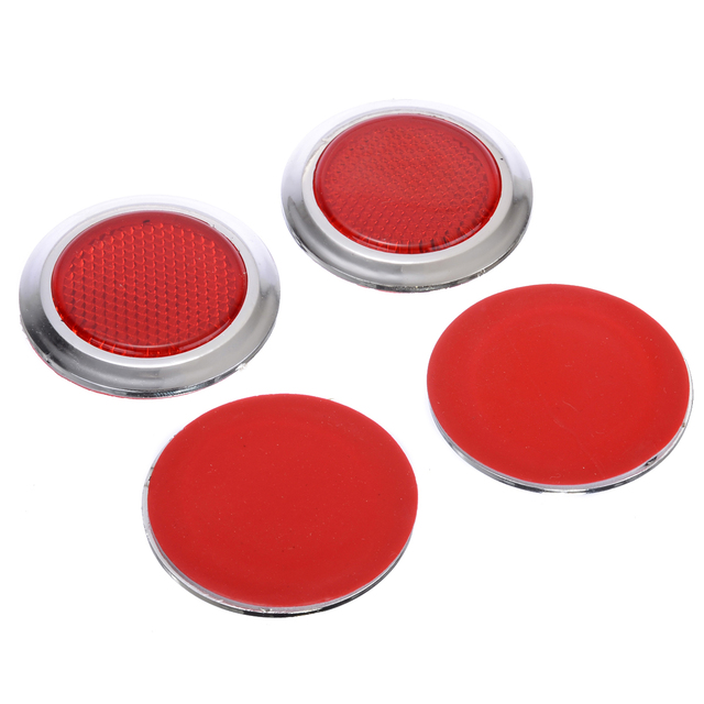 Mayitr 4pcs Plastic Round Red Car Reflector Reflective Sticker Self Adhesive 53.5x7mm For Auto Motorcycles Trailers