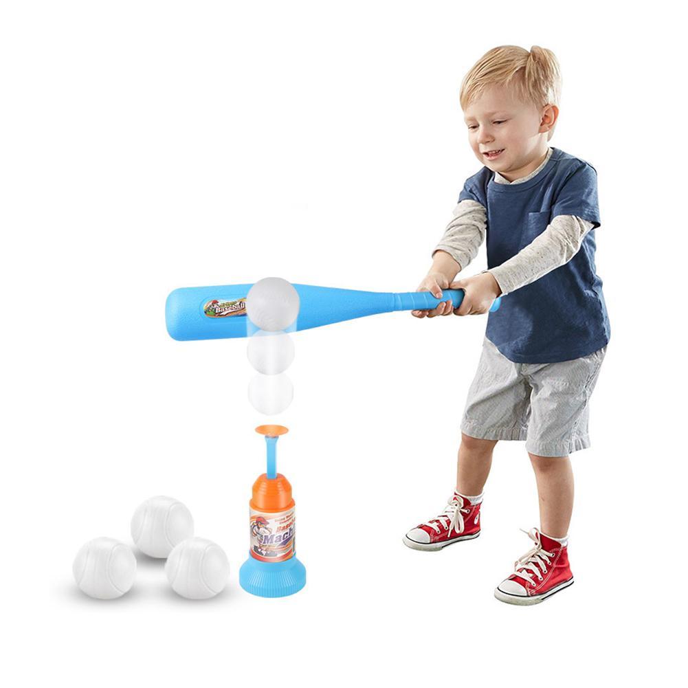 Children Exercise Baseball Soft Safety Baseball Bat Automatic Training Launcher Baseball Set Indoor Outdoor Sports Kids Game Toy