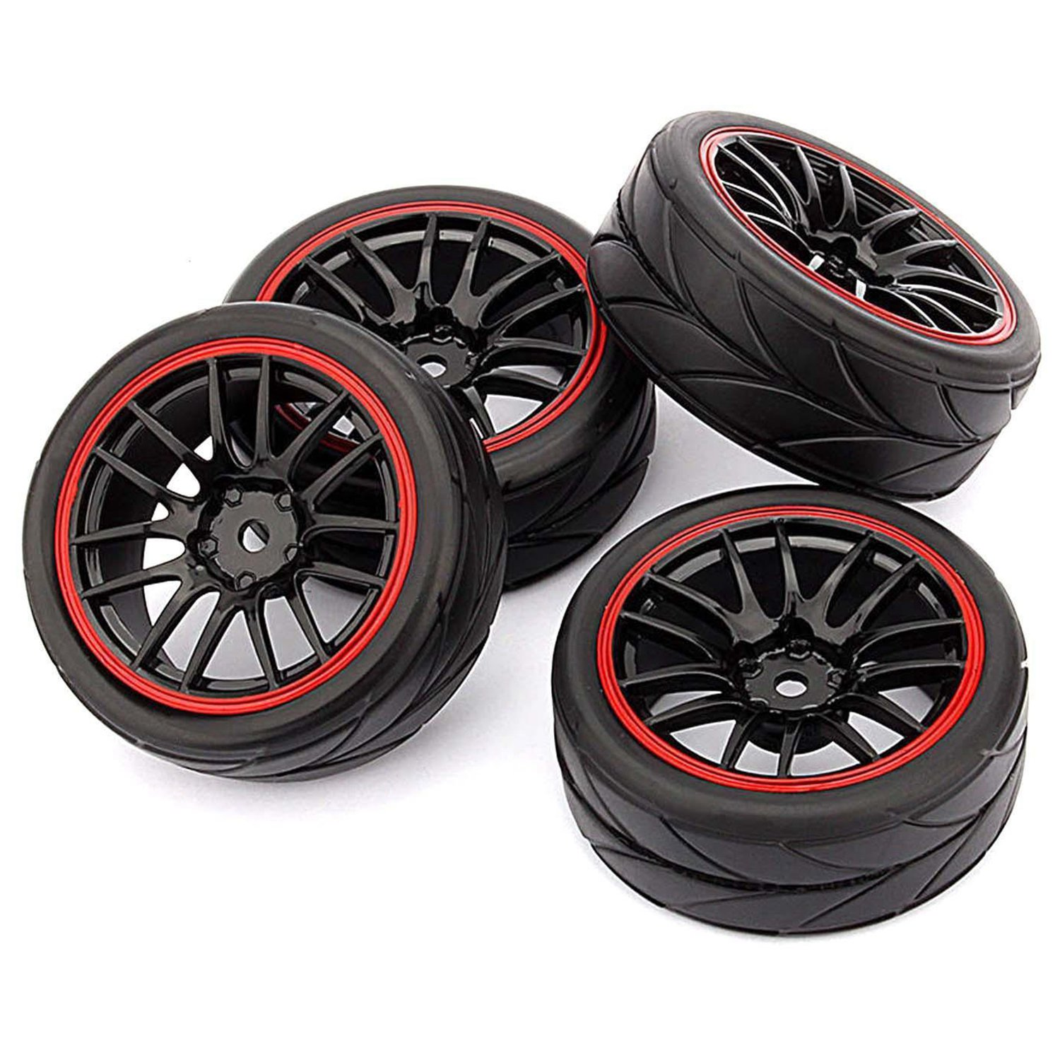4pcs 12mm Hub Wheel Rims /& Rubber Tires for RC 1//10 on-road Touring Racing Car B