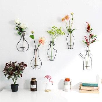 Скандинавские железные стеллажи настенная подвесная ваза для цветов сада Современная короткая креативная настенная домашняя декоративна...